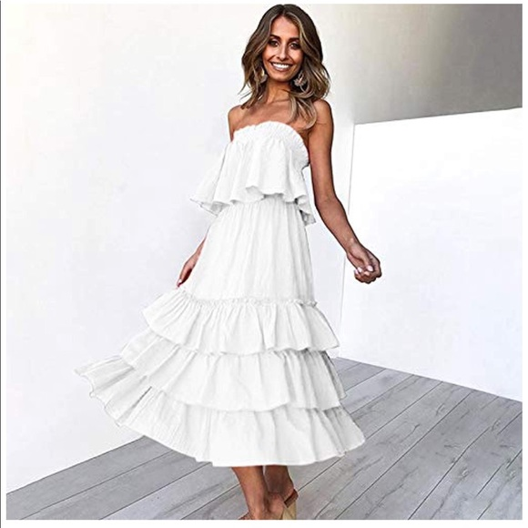 Off Shoulder Top with Casual Ruffle Skirt 2 Piece